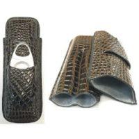 3350C. Croco Design 2 Finger Leatherette Cigar Case W/ Cutter Pouch (3PC)