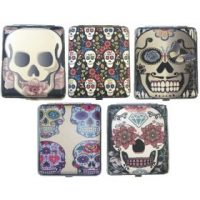 3102L20CSKULL Candy Skull Designs Leather Wrapped Holds 20 Cigarettes King Size (12PC)