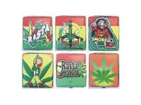 3102L20R Rasta Designs Leather Wrapped Holds 20 Cigarettes King Size (12PC)