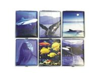 3102L20SEA Sea Designs Leather Wrapped Holds 20 Cigarettes King Size (12PC)