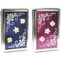 31012ST16F. Studded Flower Design Metal Cigarette Case (12PC)