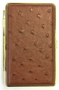 3101G14 Gold Frame Leather Wrapped Holds 14 Cigarettes 100s Size (12PC)