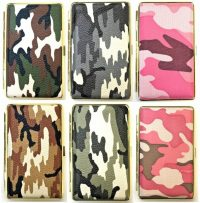 3101G14C Camouflage Design Gold Frame Leather Wrapped Holds 14 Cigarettes 100s Size (12PC)