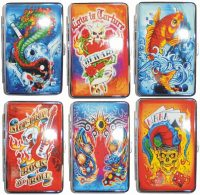 3101L14TAT1 Tattoo Designs Leather Wrapped Holds 14 Cigarettes 100s Size (12PC)