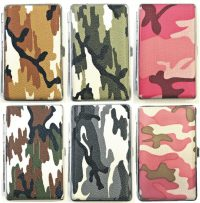 3101L20C Camouflage Design Silver Frame Leather Wrapped Holds 20 Cigarettes 100s Size (12PC)