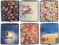 3101L20FUN Bird & Beach Designs Leather Wrapped Holds 20 Cigarettes 100s Size (12PC)