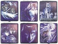 3101L20WOLF-2 Wolf Designs Leather Wrapped Holds 20 Cigarettes 100s Size (12PC)