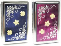 3101ST16F Studded Flower Designs Holds 16 Cigarettes 100s Size (12PC)