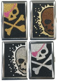 3101ST16SK Studded Skull Designs Holds 16 Cigarettes 100s Size (12PC)