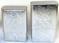 3111. Etched Pull Apart Aluminum Cigarette Case (12PC)