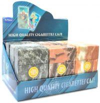 3116D3 Marbled Designs Plastic Cigarette Case King Size, Push Open (12PC)
