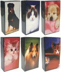 3117D10 Pet Design Plastic Cigarette Case 100s Size, Push Open  (12PC)