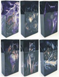 3117D17-2 Wolf Design Plastic Cigarette Case 100s Size Push Open (12PC)