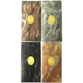3117D3 Marbled Designs Plastic Cigarette Case 100s Size, Push Open (12PC)