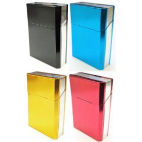 3118T2. King Size 2 Tone Aluminum Cigarette Case (12PC)