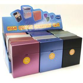 3128METALLIC. X-Large Wide Metallic Plastic Cigarette Case; Kings (12PC)