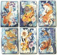 3102F14. Tattoo Fish Design Plastic Cigarette Case King Size (12PC)