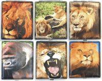 3102L20LION Lion Designs Leather Wrapped Holds 20 Cigarettes King Size (12PC)