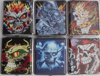 3102L20SK1 Skull Designs Leather Wrapped Holds 20 Cigarettes King Size (12PC)