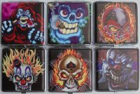 3102L20SK2 Cartoon Skull Designs Leather Wrapped Holds 20 Cigarettes King Size (12PC)