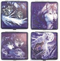 3102L20WOLF Wolf Designs Leather Wrapped Holds 20 Cigarettes King Size (12PC)