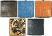 3102M2. Mixed Design Leather Wrapped Cigarette Case (12PC)
