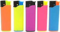 1274NEON Neon Rubberized Soft Touch Refillable Electronic Lighter Jet Flame  (50PC)
