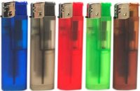 1274RUB Rubberized Transparent Disposable Electronic Lighter Regular Flame  (50PC)