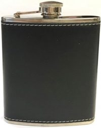 FL300. Black or Brown Leather Wrapped Flask, 7oz (8PC)