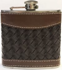 FL302 Black & Brown Leather Wrapped Design Flask Holds Up To 7 oz (8PC)