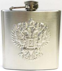 FL305E Stainless 7oz Flask Eagle Crest Design (3PC) *