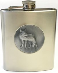 FL311-4 Stainless Steel Flask Wolf Emblem Holds Up To 7 oz (6PC)