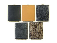 3101G20 Gold Frame Leather Wrapped Holds 20 Cigarettes 100s Size (12PC)