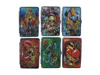 3101L14TAT2 Tattoo Designs Leather Wrapped Holds 14 Cigarettes 100s Size (12PC)