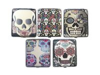 3101L20CSKULL Candy Skull Designs Leather Wrapped Holds 20 Cigarettes 100s Size (12PC)