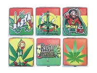3101L20R Rasta Designs Leather Wrapped Holds 20 Cigarettes 100s Size (12PC)