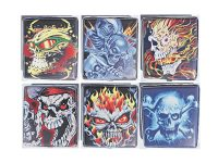 3101L20SK1 Skull Designs Leather Wrapped Holds 20 Cigarettes 100s Size (12PC)