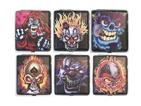 3101L20SK2 Clown Skull Designs Leather Wrapped Holds 20 Cigarettes 100s Size (12PC)