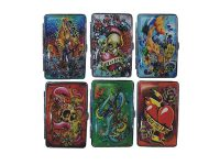 3101L20TAT2 Tattoo Designs Leather Wrapped Holds 20 Cigarettes 100s Size (12PC)