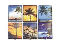 3101L20TREE Palm Tree Designs Wrinkled Leather Wrapped Holds 20 Cigarettes 100s Size (12PC)