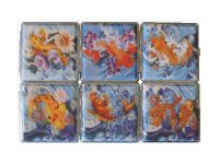 3102F20. Tattoo Fish Design Leather Wrapped Cigarette Case King Size (12PC)