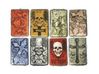 3102L12SK Skull Designs Leather Wrapped Holds 12 Cigarettes King Size (12PC)
