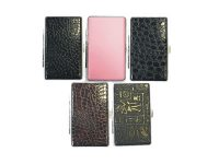 3102L14 Mixed Designs Leather Wrapped Holds 14 Cigarettes King Size (12PC)