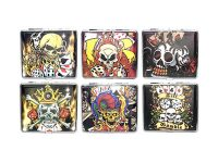 3102L18SK Skull Designs Leather Wrapped Holds 18 Cigarettes King Size (12PC)