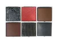 3102L20 Mixed Designs Leather Wrapped Holds 20 Cigarettes King Size (12PC)