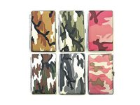 3102L20C Camouflage Design Silver Frame Leather Wrapped Holds 20 Cigarettes King Size