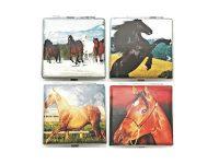 3102L20HORSE. Horse Design Leather Wrapped Cigarette Case King Size (12PC)