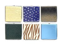 3102L20W. Mixed Design Leather Wrapped Cigarette Case (12PC)