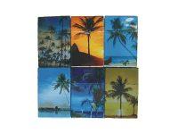 3114D13 Palm Tree Design Plastic Cigarette Case King Size, Flip Open (12PC)