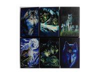 3115D17-2. Wolf Design Plastic Cigarette Case 100s Size, Flip Open (12PC)